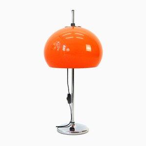 Lámpara de mesa alemana Era Espacial de cromo y plexiglás con pantalla regulable, años 70