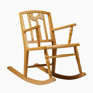 Vintage Modernist Wooden Rocking Chair by Carl Hörvik, 1923