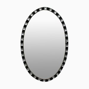 Vintage Crystal & Black Glass Studded Mirror, 1970s
