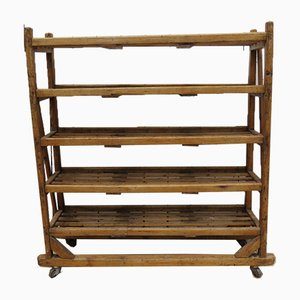 Antique Industrial Pine Shelving Rack