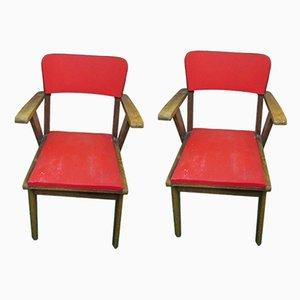 Französische Armlehnstühle mit Gestell aus Buche, Sitz aus Kunstleder & Kompassfüßen, 1960er, 2er Set