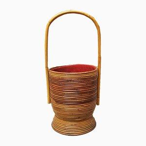 Mid-Century Italian Rattan Sewing Basket, 1950s