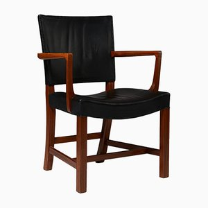 Model 3758 A Danish Leather and Mahogany Armchair by Kaare Klint for Rud. Rasmussen, 1940s