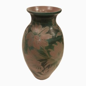 Mid-Century French Earthenware Vase with Floral Decoration and Salt Glaze, 1950s