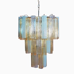 Vintage Italian Chrome Plating and Glass Chandelier, 1982