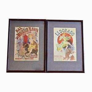 Pósteres franceses antiguos de Moulin Rouge y El Dorado de Julies Chéret, 1894. Juego de 2
