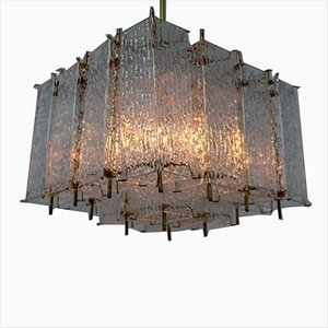 Large Mid-Century Brass and Glass Chandelier, 1960s