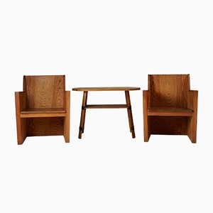 Modernist Iron & Pine Set of Table & Chairs, 1950s