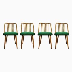 Esszimmerstühle mit Gestell aus Buche & Stoffbezug von Antonín Šuman für TON, 1960er, 4er Set