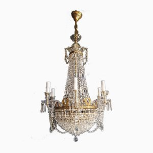 Empire Brass and Crystal Pearl Chandeliers from Montgolfièr, 1950s, Set of 12