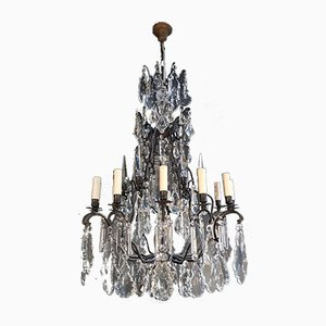 Baroque French Brass and Crystal Chandelier, 1930s