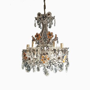 Art Nouveau Italian Crystal, Glass, and Murano Glass Chandelier, 1930s