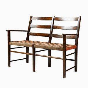 Mid-Century 2-Sitzer Sessel mit Gestell aus Birke & Sitz aus Hanfgeflecht von Axel Larsson für Gemla, 1950er