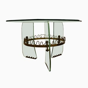 Italian Brass & Cut Glass Coffee Table by Louis Brusotti for Fontana Arte, 1950s