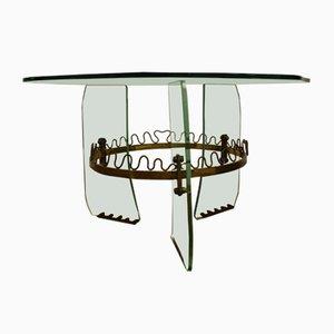 Table Basse en Laiton et en Verre Taillé par Louis Brusotti pour Fontana Arte, Italie, 1950s