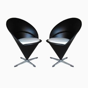 Mid-Century Danish Cone Chairs by Verner Panton, 1960s, Set of 2