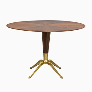 Italian Brass and Walnut Dining Table by Melchiorre Bega, 1949