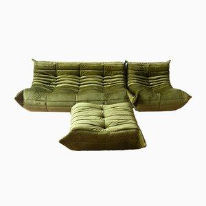Olivgrünes Vintage Togo Wohnzimmerset aus Samt von Michel Ducaroy für Ligne Roset, 1970er