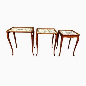Antike Chippendale Satztische aus Keramik & Holz