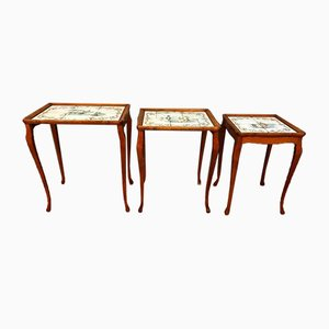 Antique Chippendale Ceramic and Wood Nesting Tables