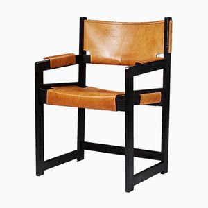 Modernist Leather and Oak Armchairs by Sven Kai-Larsen, 1960s, Set of 4