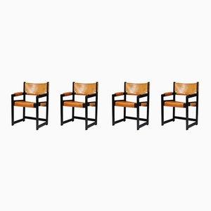 Moderne Armlehnstühle aus Leder & Eiche von Sven Kai-Larsen, 1960er, 4er Set