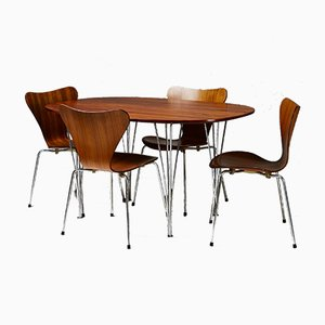 Dining Table & Chairs Set by B. Mathsson, P. Hein, and A. Jacobsen for F. Hansen, 1950s