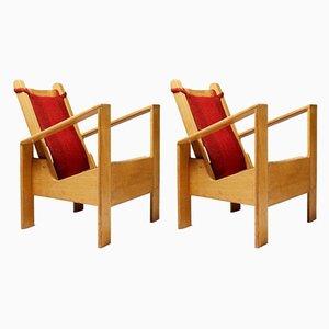 Moderne französische Armlehnstühle aus Eiche mit Wollbezug, 1940er, 2er Set