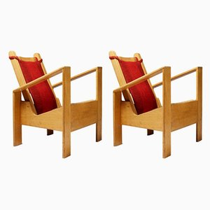 Modernist French Oak and Wool Armchairs, 1940s, Set of 2