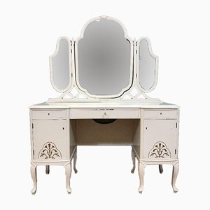 Antique Wood Dressing Table with Mirror
