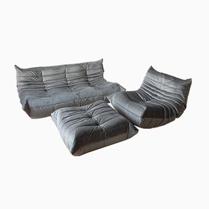Vintage Grey Velvet Togo Living Room Set by Michel Ducaroy for Ligne Roset, 1970s