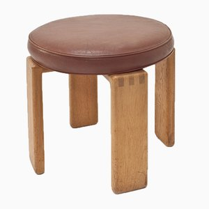 Leather & Oak Bonanza Stool by Esko Pajamies for Asko, 1960s