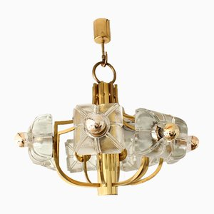 Mid-Century German Brass and Molded Glass Chandelier from Sische, 1960s