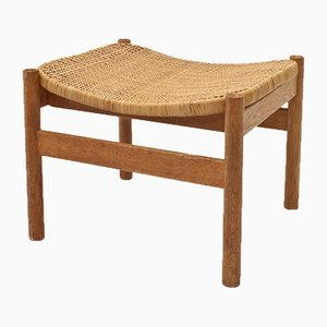Mid-Century Scandinavian Oak and Cane Stool, 1960s