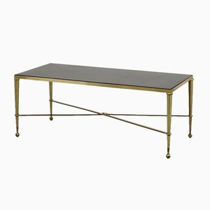 French Brass and Marble Coffee Table from Maison Jansen, 1960s