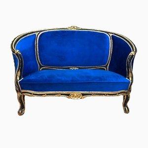 Antikes barockes Sofa mit Holzgestell im Stil des Rokoko
