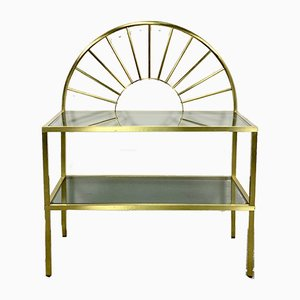 Brass and Smoked Glass Console Table, 1950s