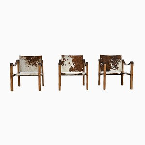 French Series 3 Leather Lounge Chairs, 1970s, Set of 3