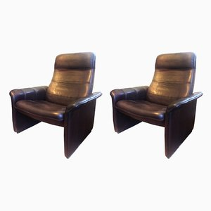 Fauteuils Inclinables DS50 en Cuir de de Sede, 1970s, Set de 2