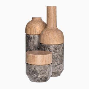 Pots Mutamenti par Gumdesign pour La Casa di Pietra, Set de 3