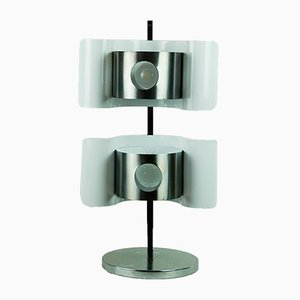 Mid-Century Italian Chrome & White Lacquered Metal Table Lamp, 1960s