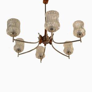 Lámpara de araña danesa de palisandro, metal cromado y vidrio, años 60