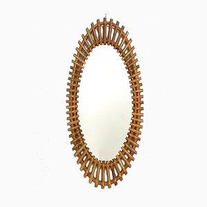 Espejo de pared ovalado de mimbre, años 60