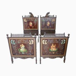 Letti singoli antichi Art Nouveau in ferro, set di 2