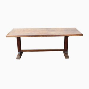 Mid-Century Oak Dining Table with H Stretcher, 1940s