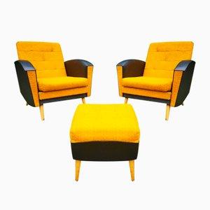 Modernes Öko-Leder-Set aus Sessel & Fußhocker, 1960er