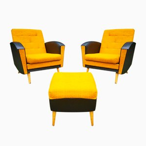 Modernist Eco-Leather Set with Lounge Chairs & Ottoman, 1960s