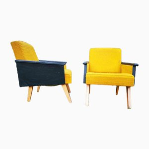 Modernist Yellow & Black Wood and Eco-Leather Armchairs, 1960s, Set of 2