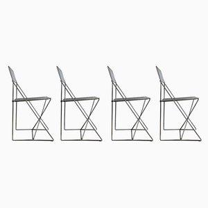 Danish X Chairs Dining Chairs by Niels Jørgen Haugesen for Hybodan, 1977, Set of 4