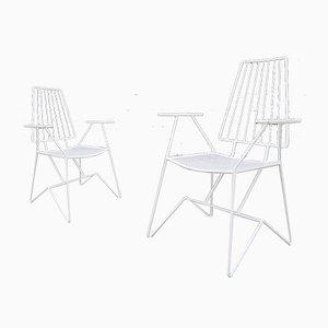 Französische Gartenstühle aus Eisen von Mathieu Matégot, 1950er, 2er Set